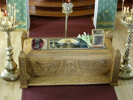 The Relics of St Herman of Alaska, placed in the center of the Ressurection Cathedral, on his Feast day in August